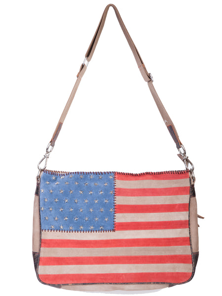 Scully Leather Co. Leather Shoulder Bag Stars and Stripes on Model
