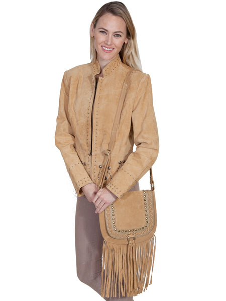 Scully Leather Co. Suede Shoulder with Flap and Fringe on Model