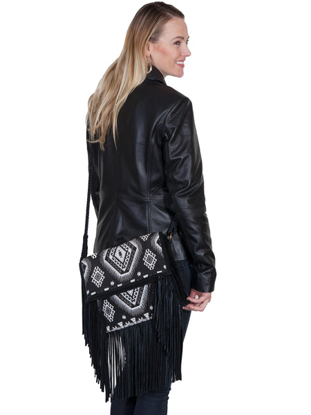 Scully Leather Co. Aztec Print Shoulder Bag with Suede and Leather Fringe