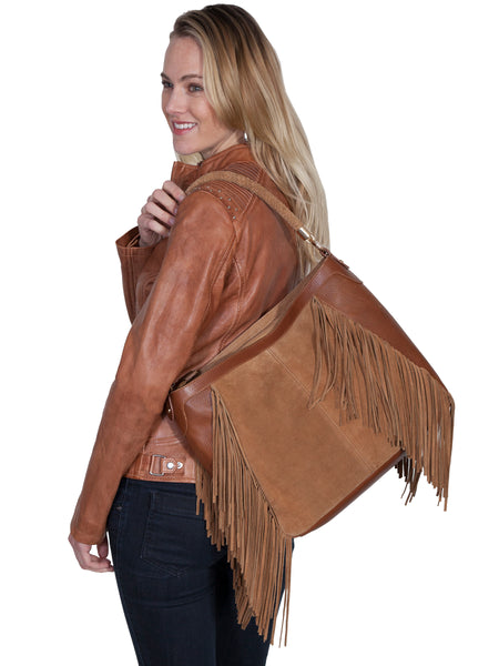 Scully Leather Co. Suede Shoulder Bag with Diagonal Fringe on Model