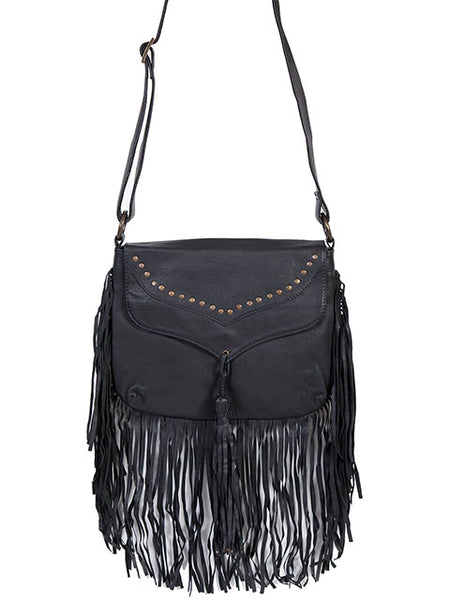 Scully Leather Co. Shoulder Bag with Full Flap and Fringe on Model