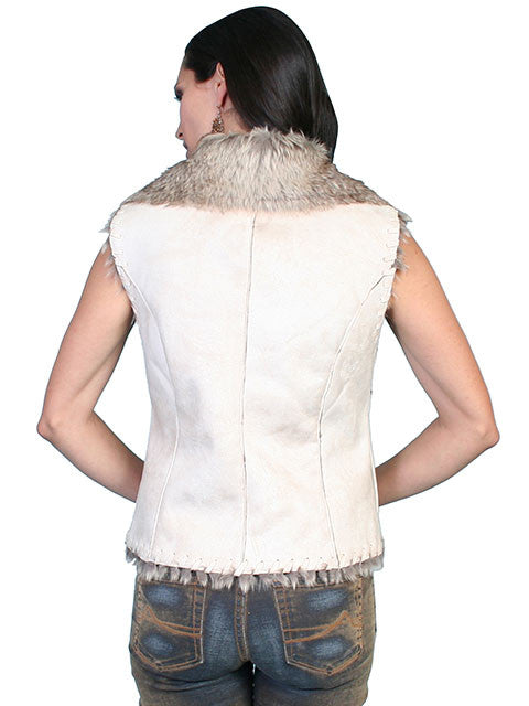Honey Creek Faux Shearling Vest Chalk, Back S-2XL
