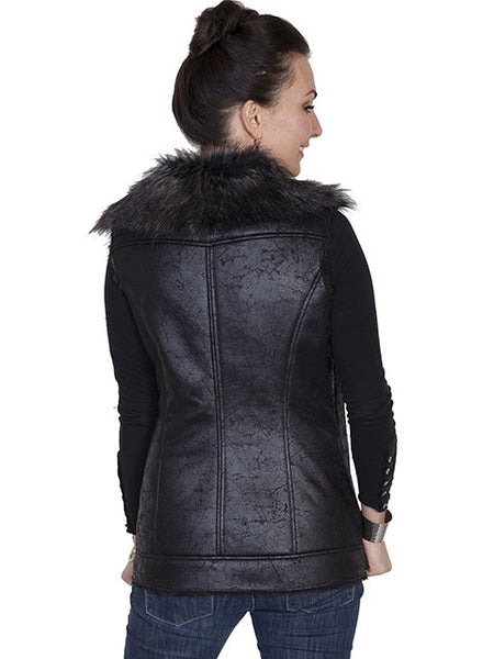 Honey Creek Faux Fur Vest with Zip Front Black, Front S-2XL