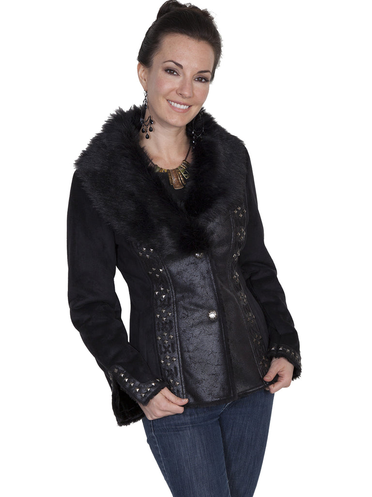 Scully Honey Creek Faux Fur Jacket, Studded Cuffs Black