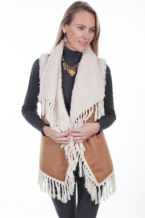 Scully Ladies' Honey Creek Faux Shearling Vest with Knotted Fringe Front