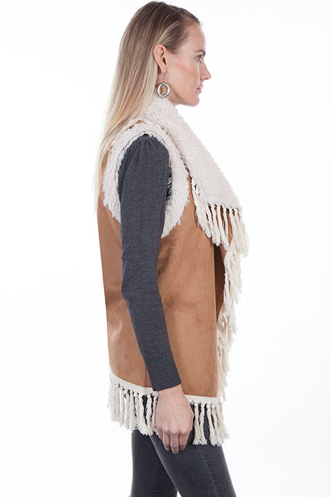 Scully Ladies' Honey Creek Faux Shearling Vest with Knotted Fringe Side