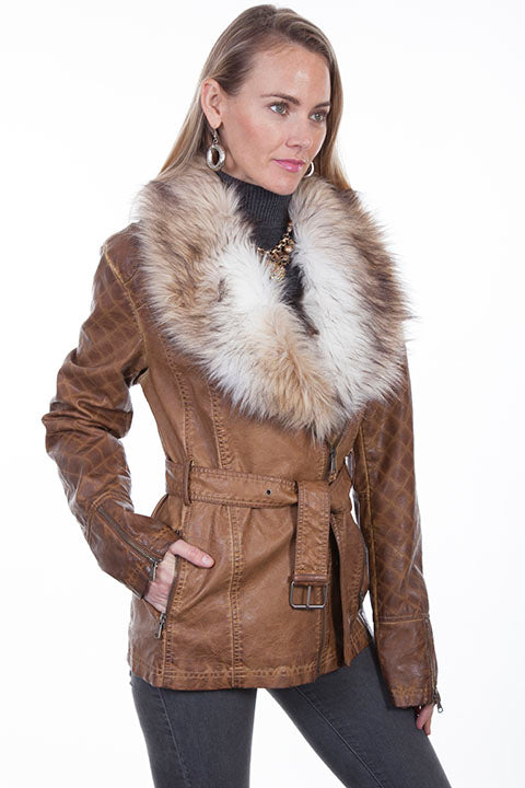 Scully Ladies' Honey Creek Faux Fur Jacket with Oversized Lapels QView