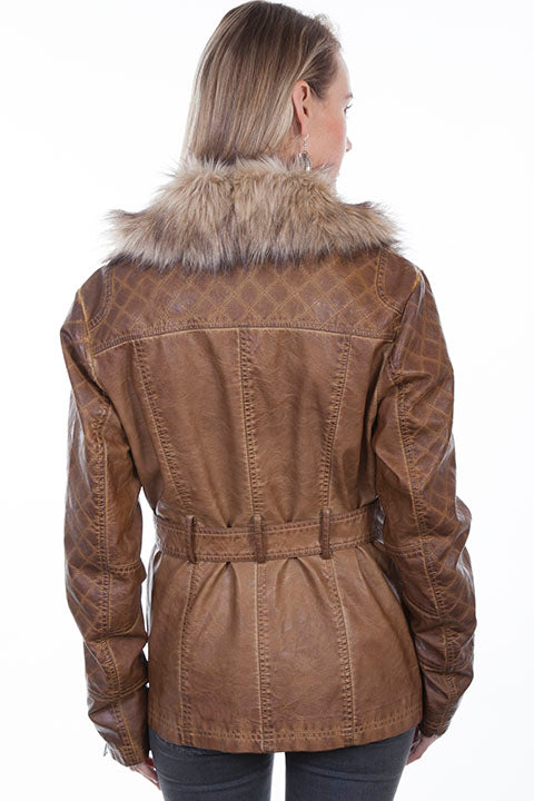 Scully Ladies' Honey Creek Faux Fur Jacket with Oversized Lapels Back View
