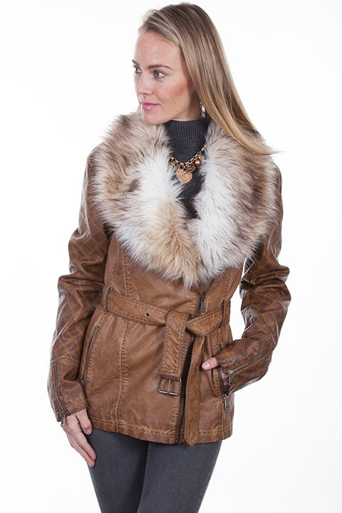 Scully Ladies' Honey Creek Faux Fur Jacket with Oversized Lapels Front View