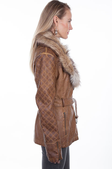 Scully Ladies' Honey Creek Faux Fur Jacket with Oversized Lapels Side View