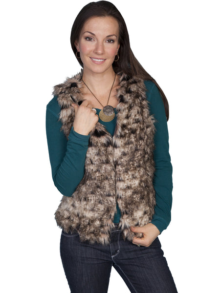 Honey Creek Faux Fur Sherling Vest, Brown, Front