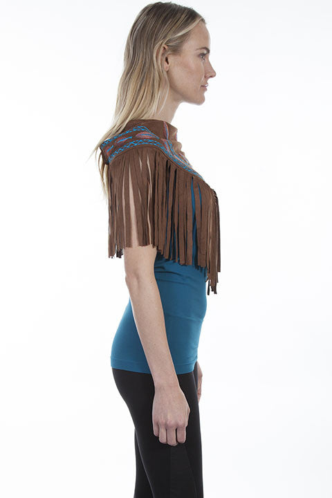 Scully Honey Creek Western Scarf, Fringe, Embroidery Side