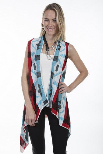 Honey Creek Western Geometric Print Vest Front S-XL