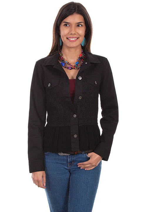 Scully Honey Creek Ladies' Denim Jean Jacket with Lace Insert Black Front