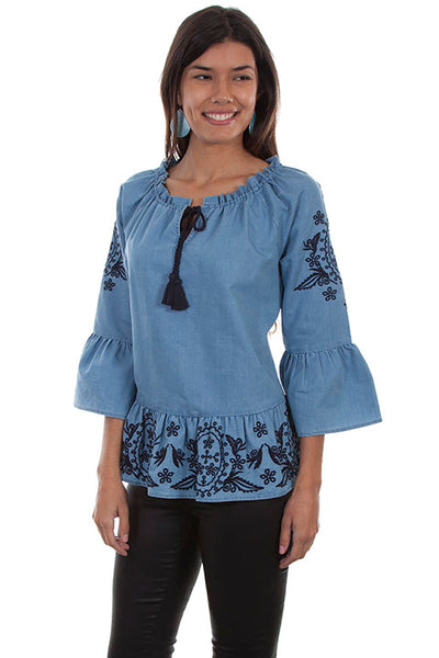 Scully Ladies' Honey Creek Peplum Top with Folk Embroidery and 3/4 Sleeve Front