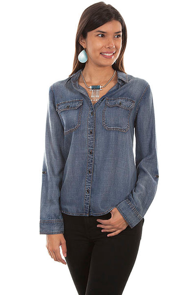 Scully Ladies' Honey Creek Denim Button Front and Lace Up Back Front View