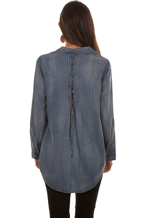 Scully Ladies' Honey Creek Denim Button Front and Lace Up Back