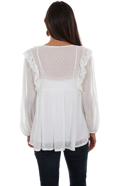 Women's Honey Creek Collection Blouse: Dotted Swiss Ruffles