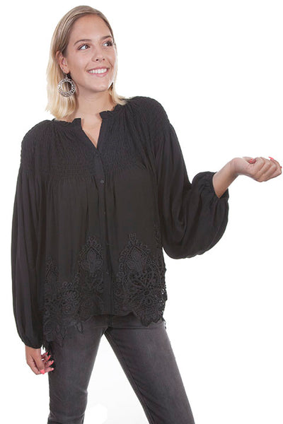 Scully Ladies' Honey Creek Pullover Top with Lace Button Front