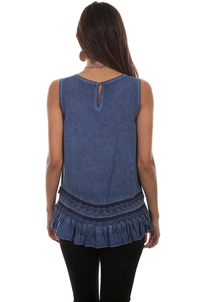 Scully Honey Creek Ladies' Tank with Ruffle Hem Front