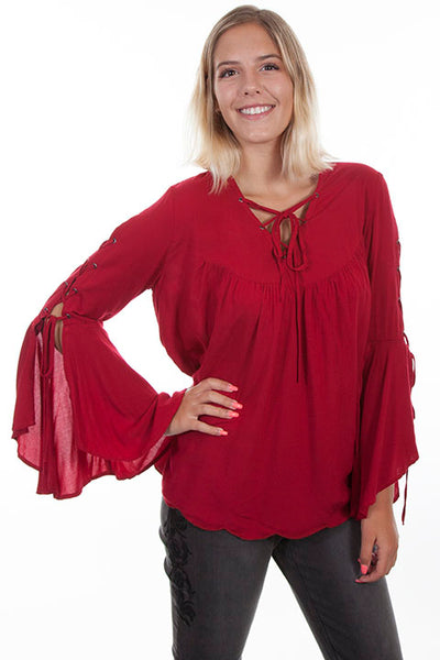 Scully Ladies' Honey Creek Pullover with Wide Sleeves Red Front