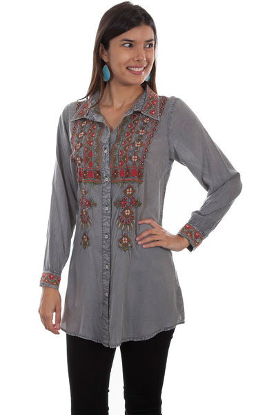 Scully Honey Creek Ladies' Embroidered Tunic Top Front