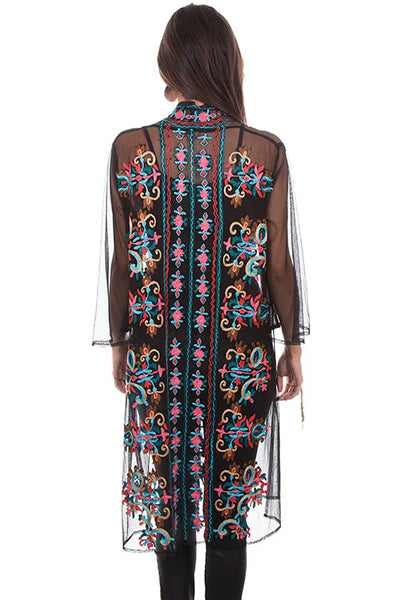 Scully Ladies' Honey Creek Duster of Mesh with Embroidery Front