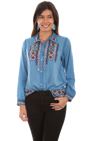 Scully Ladies' Honey Creek Button Down Front Floral Embroidery Front