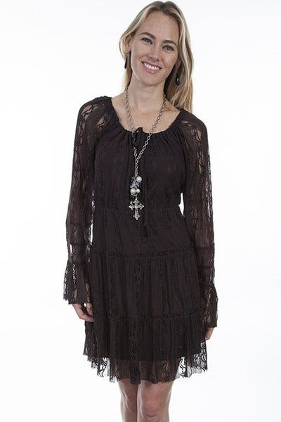 Honey Creek Collection Dress Lace Chocolate Front