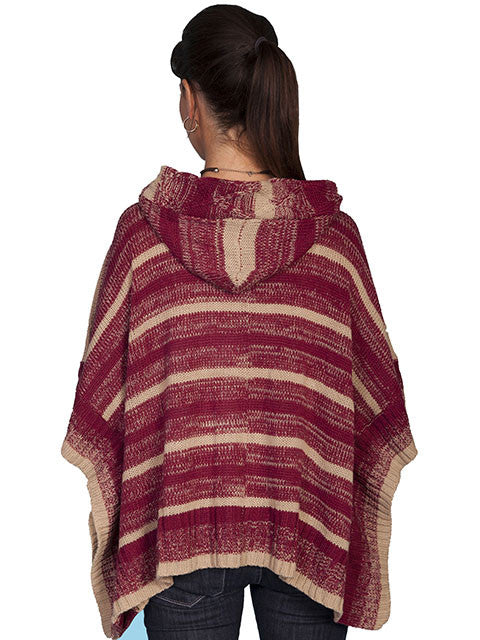 Honey Creek Sweater Poncho with Hood Burgundy Back