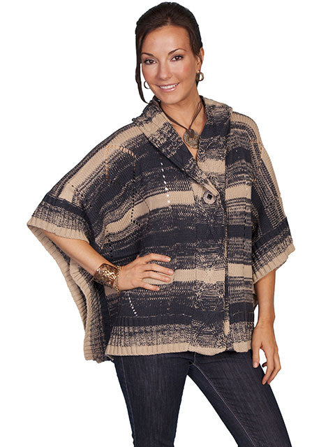 Honey Creek Sweater Poncho with Hood Charcoal 3Q