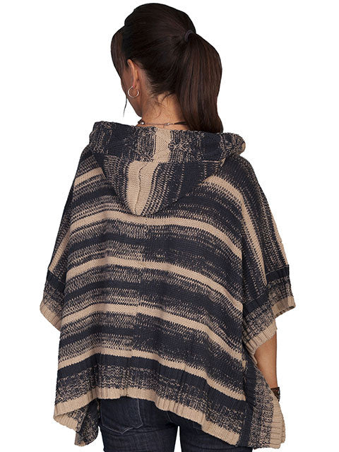 Honey Creek Sweater Poncho with Hood Charcoal Back