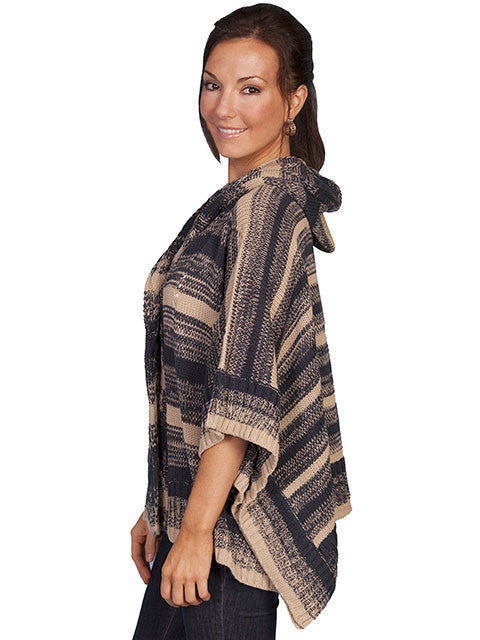 Honey Creek Sweater Poncho with Hood Charcoal Side