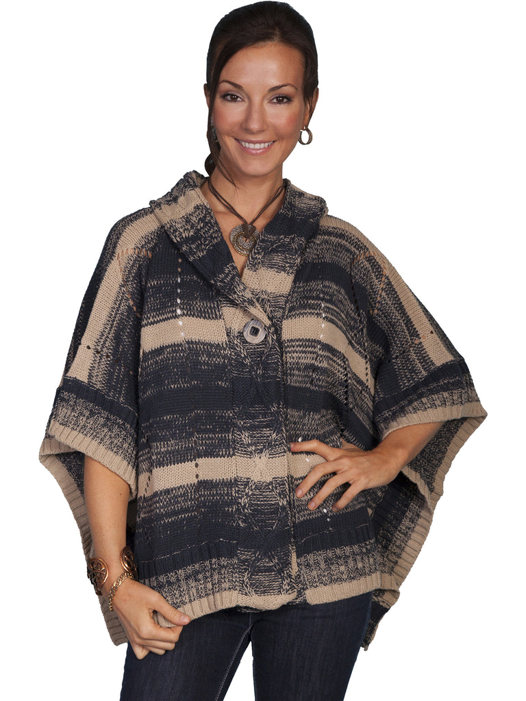 Honey Creek Sweater Poncho with Hood Charcoal Front