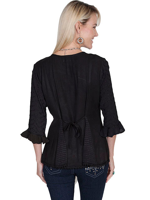 Honey Creek Blouse with 3/4 Sleeves, Ruffles, Buttons Black Back XS-2XL