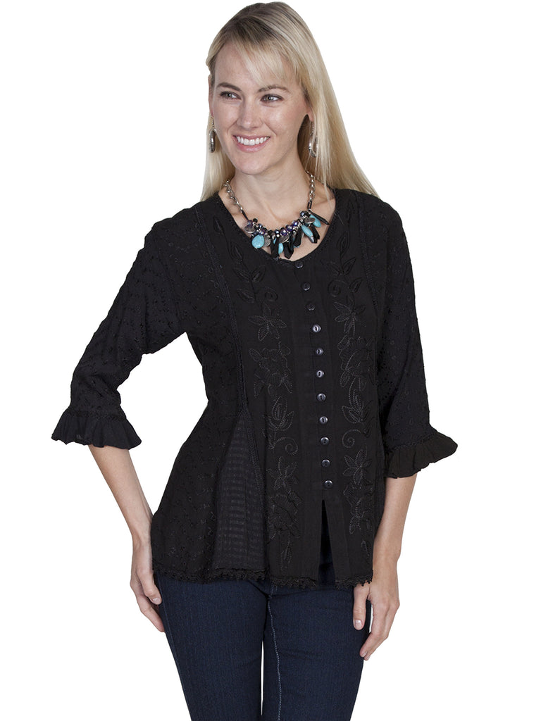 Honey Creek Blouse with 3/4 Sleeves, Ruffles, Buttons Black Front XS-2XL