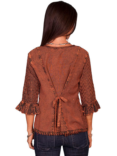 Honey Creek Blouse with 3/4 Sleeves, Ruffles, Buttons Copper Back XS-2XL