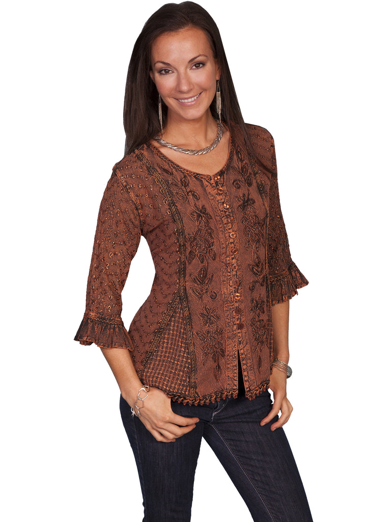 Honey Creek Top: 3/4 Sleeve Blouse, Ruffles, Embroidery, Copper S-2XL