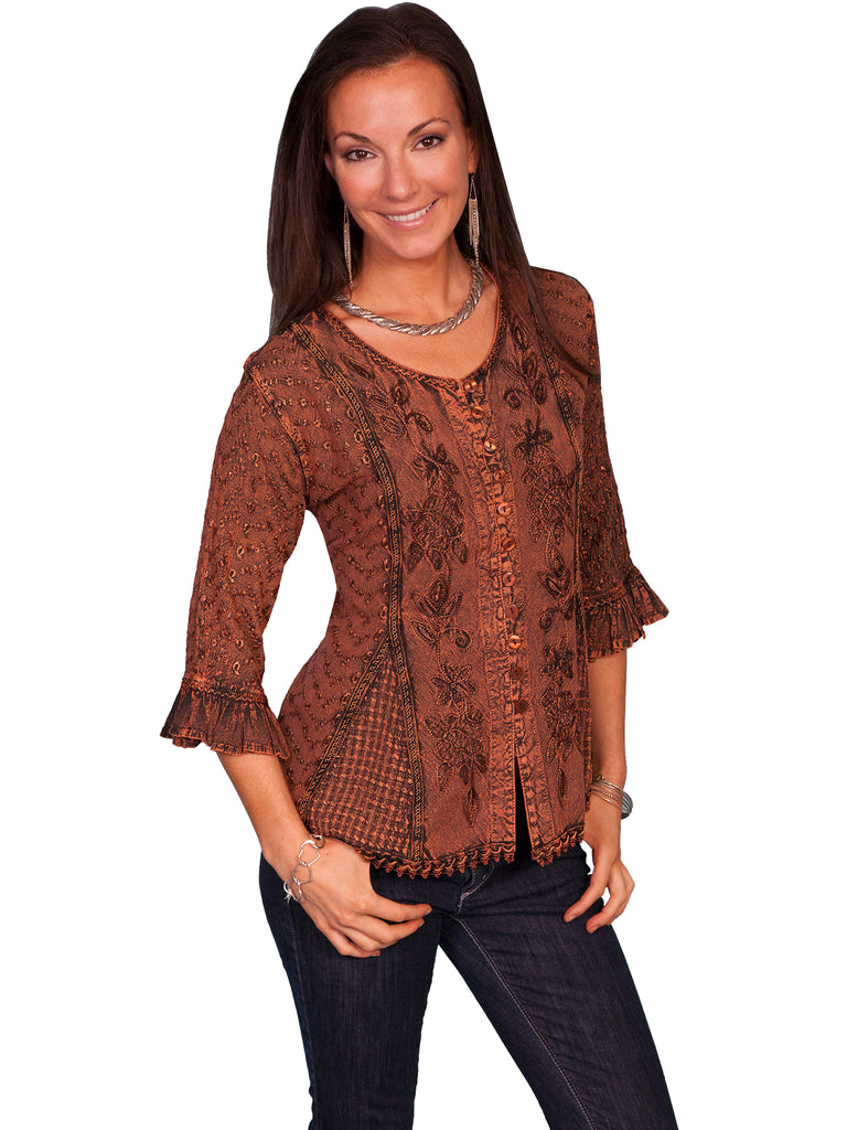 Honey Creek Blouse with 3/4 Sleeves, Ruffles, Buttons Copper Front XS-2XL