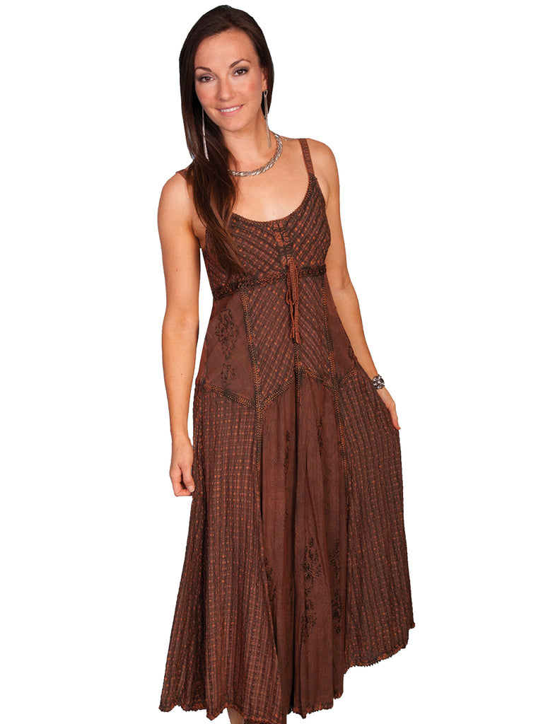 Honey Creek Dress Spaghetti Strap, Multi Fabric, Copper, Front S-2XL