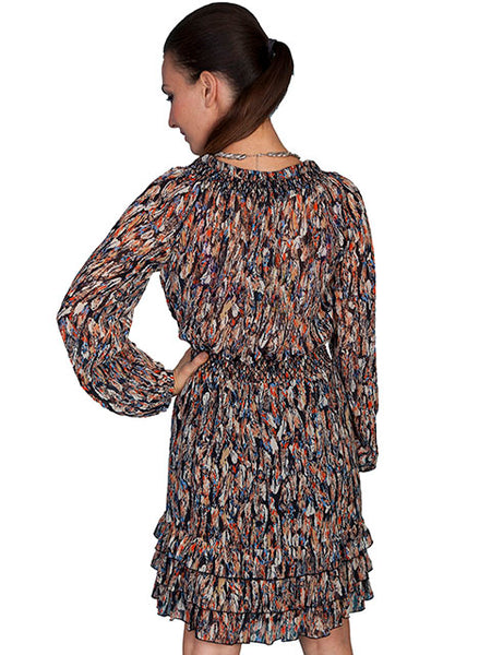Scully Honey Creek Dress Feather Print Black Front View