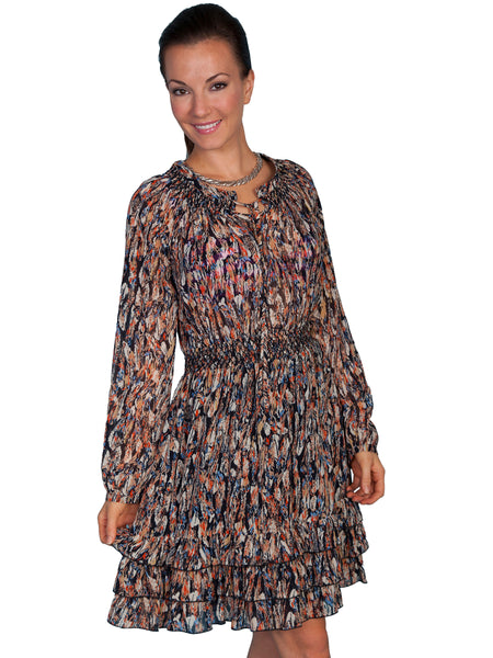 Scully Honey Creek Dress Feather Print Chocolate Front View