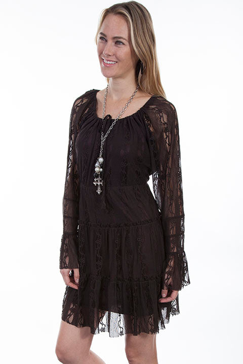 Honey Creek Collection Dress Lace Chocolate Side