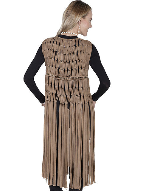 Scully Honey Creek Vest, Fringe, Macrame, Beads Beige Back