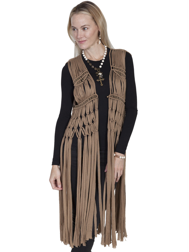 Scully Honey Creek Vest, Fringe, Macrame, Beads Beige Front