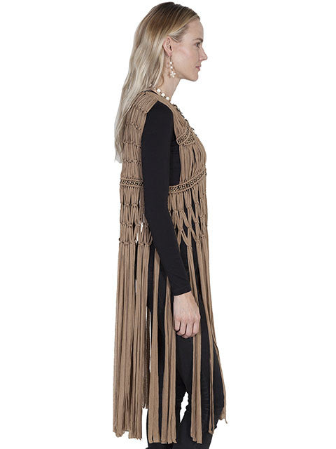 Scully Honey Creek Vest, Fringe, Macrame, Beads Beige Side