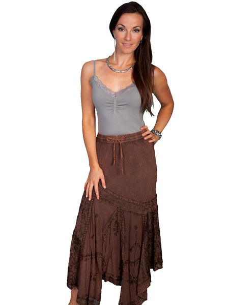 Honey Creek Skirt: Drawstring Waist, Uneven Hem, Copper S-2XL
