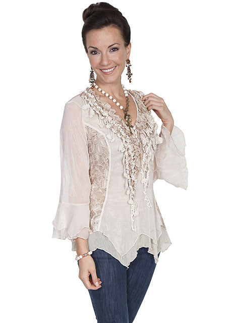 Honey Creek Romantic Lace Top, 3/4 Sleeves, Double Ruffle Cuffs, Natural, 3Q S-XL
