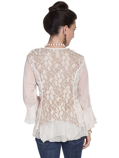 Honey Creek Romantic Lace Top, 3/4 Sleeves, Double Ruffle Cuffs, Natural, Back S-XL