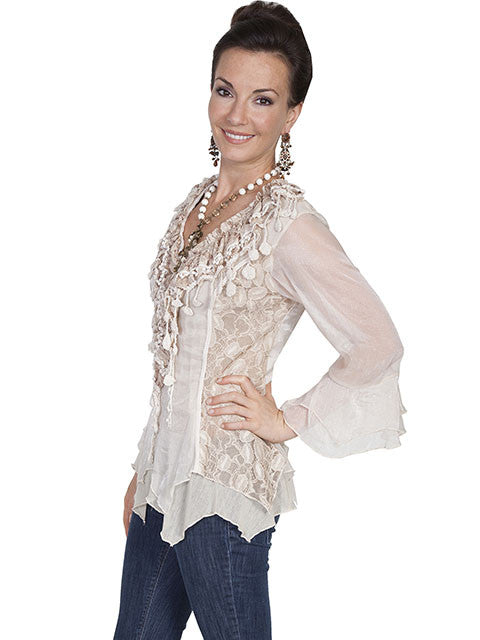 Honey Creek Romantic Lace Top, 3/4 Sleeves, Double Ruffle Cuffs, Natural, Side S-XL